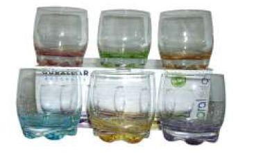 ADORA WHISKY GLASS 6 PACK COLOURED