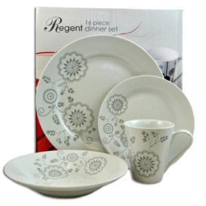 DINNER SET GREY FLOWER 16PC