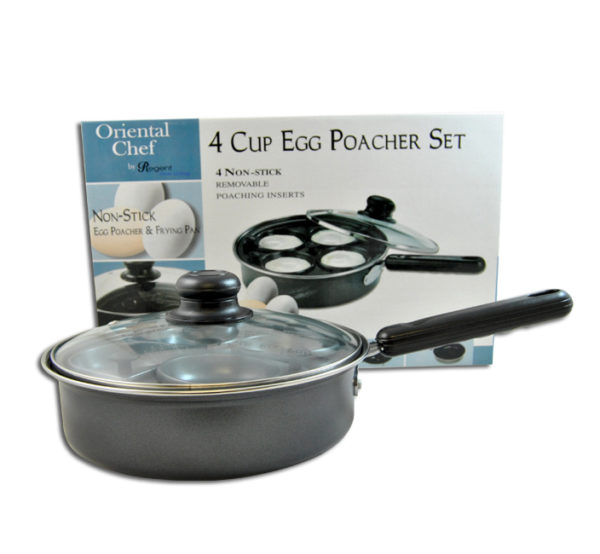 EGG POACHER - 4 CUP WITH GLASS LID