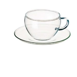 Simax Glassware  Eva Tea Cups with Saucer, 8.25-Ounce, Set of 4