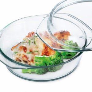 Borosilicate Glass Round Flat Casserole