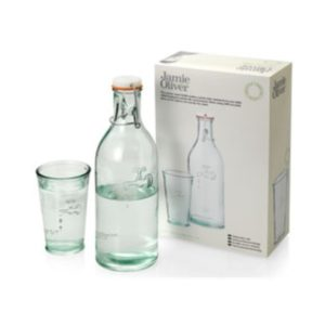 Water bottle and 1 water glass in giftbox