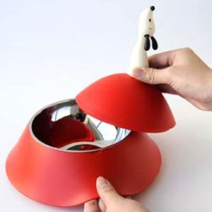 ALESSI LULA DOG BOWL W/LID RED