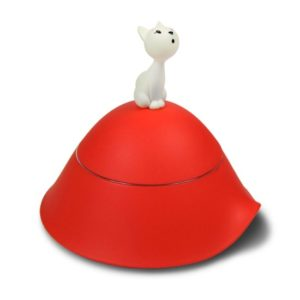 ALESSI MIO CAT BOWL WITH LID RED