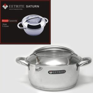 Eetrite 18/10 Stainless Steel Casserole Pot with Lid - 5.1L