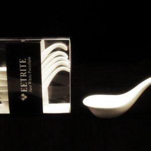 White Hors Doeuvre Spoons - 9cm Set 6