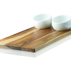 Umbra Plato Bread Board and Ceramic Dipping Bowl Set, White/Nickel