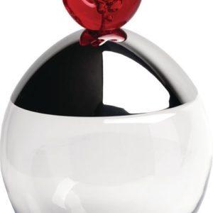 Alessi Big Ovo Biscuit Box Tin Crystalline Glass Steel Lid Pomegranate