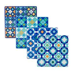 Maxwell & Williams Barcelona Ceramic Square Tile Coaster 9cm Set of 4 Blue Gift Boxed