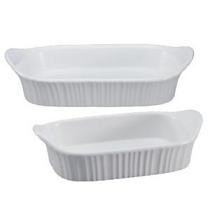 Corningware French White 28*19.6cm and 20.3*13.8cm Rectangular bakers